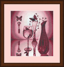 Counted Cross Stitch Kit Golden Fleece Pink Glass Beads Butterfly