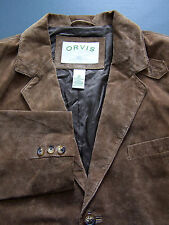 Orvis Suede Three Button Box Jacket Men's 42 Large Brown Vintage BBS985