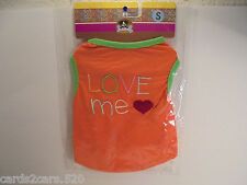 Bachako Love Me Heart Tee Shirt Small Dogs Clothes Orange Breeds Listed Summer