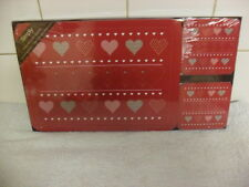 Love Heart 4 Table Place Mats and Coaster Set BNIB Red