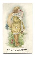 Old Trade Card CA Dorney Furniture Co Allentown PA Large Hat Flowers