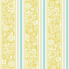 JR4103 - Jack N Rose Junior Blue Green Yellow Floral Striped Galerie Wallpaper