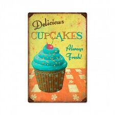 Delicious Cupcakes Always Fresh Cupcake Werbung Retro Sign Blechschild Schild
