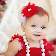 Baby Toddler Girls Pearl Lace Feather Flower Christmas Headband HairBand