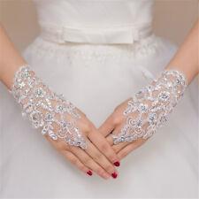 Lace elegant white Fingerless Short Paragraph Rhinestone Bridal Wedding Gloves