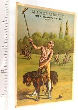 1880 Lovely Comical Polo Tiny Horse Muddie's Library, Boston, MA Trade Card F47