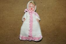 """Vintage 3""""Plastic Doll House Miniature Sleepy Eyed Jointed Baby Girl Doll w/Hair"""