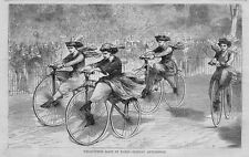 WOMENS VELOCIPEDE RACE IN PARIS SUNDAY AFTERNOON EARLY VINTAGE BICYCLE HISTORY