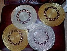 4 All Beaded Gold Silver Placemats Christmas Round Kim Seybert? EUC