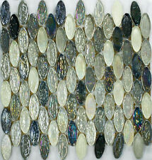 ASLG-21  WILD GRAY Oval Glass Mosaic Tile for Kitchen Backsplash Spa
