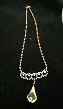 Vintage look czecho czech  Yellow crystal Rhinestone pendant necklace FREE ship