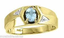 Mens Genuine Color Stone Ring Sterling Silver or Gold Plated - March Aquamarine