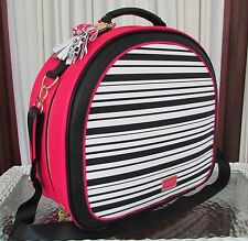 Betsey Johnson Train Case Weekender Fuchsia Black Travel Tote Crossbody Bag NWT
