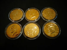 LOT OF 6* 24 K  GOLD PLATED JF KENNEDY HALF DOLLAR COIN SET -AIR TIGHT  CAPSULE