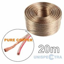 20m PURO RAME Loud Altoparlante Filo Cavo 2x1,0mm OFC Senza Ossigeno HOME & CAR AUDIO