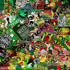 HUGE Rasta Weed Sticker Bomb sheet Euro  Vinyl Decal vw  vauxhall honda Dub