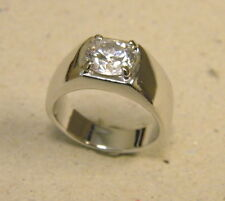 Men's Rhodium Plated Large 9mm CZ Solitaire Smooth Pinky Ring New Size 10