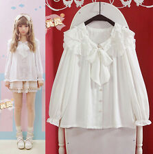 Cute Girls Lolita Preppy Big Falbala Sailor Collar Bow Double Neck Shirt Blouse