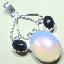 "925 STERLING SILVER OVERLAY FIRE OPAL & BLACK ONYX HANDMADE PENDANT 2.75"" INCH"