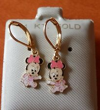 14K Gold Fill Mickey PINK BABY Minnie Mouse Earrings / Teenager Children / USA