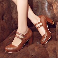 2016 women pu leather Brogue mary Jane High Thick Heel Court summer Shoes