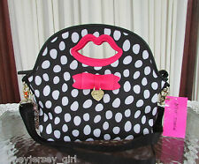 BETSEY JOHNSON TOP HANDLE DOME INSULATED LUNCH TOTE CROSSBODY BAG POLKA DOTS NWT