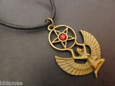 """Isis Egyptian Goddess 18""""-24"""" necklace pendant mens pagan wiccan bronze winged"""