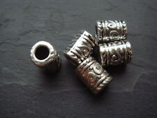 25 silver decorated tube column spacer beads 9mm Tibetan style