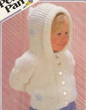 Knitting Pattern Baby Girls Chunky Hooded Cardigan with Flowers Detail