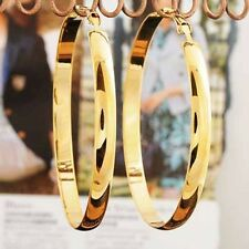 womens fashion 60mm Big Large hoop earrings yellow gold filled statement jewelry