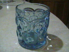 Weishar Glass Moon & Stars Light Blue Kimberlite Old Fashioned Tumbler Signed