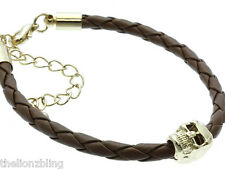Last One! Hip Hop Gothic Braided Brown Leather Bracelet & Gold Skull