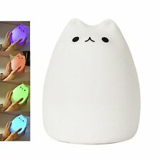 Celebrity Cat Silicone Soft Children LED Night Light Baby Nursery Lamp Breathing