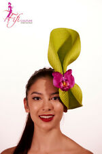 Green & Silver High Twisted Fascinator with Pink Flower- Made in Aussie - BNWT