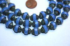 Strang barocke opal blaue facettierte Glasperlen aus Böhmen