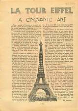 La Tour Eiffel Cinquante Ans T.S.F. Antenne Radio Paris France 1937 ILLUSTRATION