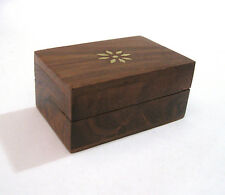 Star Sun Flower Wooden Wood Trinket Pill Box Brass Accents