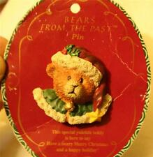 CUTE! Sculpted Russ Bears From the Past Christmas Teddy Bear Yuletide Brooch Pin