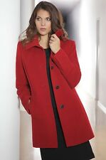 KIRSTEN was £159, Wool + Cashmere, Warm Red Coat, uk 18, Black buttons BNWT