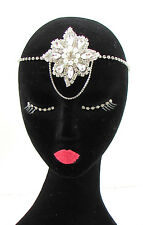 Vintage 1920s Diamante Silver Chain Headpiece Flapper Great Gatsby Headband 597