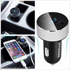 Portable Mini Dual USB Car Autos Charger Adapter With LCD Display For Smartphone