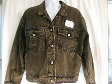 VTG LE FROG SZ Large Black Denim Jean Jacket Acid Wash Punk Rocker Rockabilly