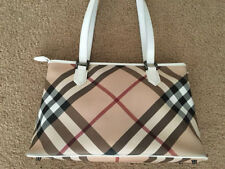LikeNew 100% Auth Burberry White Nova Check Regent Super Nova Bag Handbag