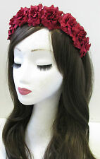 Red Rose Flower Hair Crown Headband Garland Silver Small Festival Boho Vtg U81