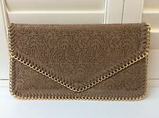 Faux Leather Beige Chain Detail Envelope Flat Clutch Bag Prom Wedding