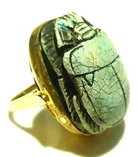 X-LARGE STUNNING OLD CARVED EYPTIAN SCARAB 14K GOLD WOMENS ESTATE RING SIZE 8.25