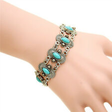Women Retro Vintage Natural Turquoise Tibet Silver Bracelet Bangle Cuff Fashion