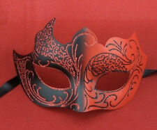 Red & Black Venetian Style Masquerade Mask Halloween Devil Female Masked Ball