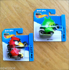 2014 Hot Wheels ANGRY BIRDS RED & GREEN PIG 82/250 81/250 HW CITY diecast Mattel