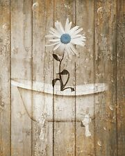 Vintage Rustic Daisy Flower Brown Blue Bathroom Powder Room Home Decor Picture